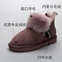 儿童雪地靴牛皮毛一体宝宝棉靴2018冬季新款子鞋女休闲真皮保暖