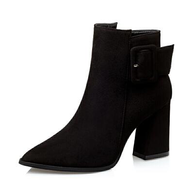 2018秋冬新款短靴粗跟马丁靴黑色皮带扣高跟裸靴短筒英伦风女靴子