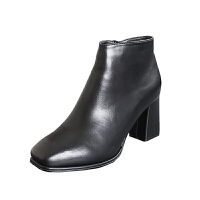 欧美风圆头女靴2018秋冬新款粗跟短靴高跟女鞋裸靴加绒棉靴马丁靴软底