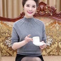 中年妇女秋冬装半高领加厚貂绒打底衫中老年女装妈妈羊绒毛衣奶奶