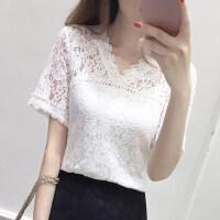 201808300001364492018夏季新款蕾丝女装V领短袖T恤韩版镂空蕾丝上衣修身显瘦雪纺衫 白色