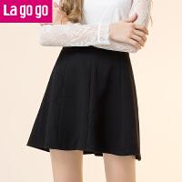 lagogo/拉谷谷2019年冬季新款时尚拉链半裙
