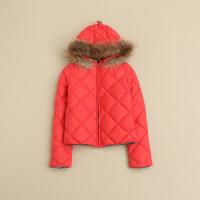 女秋冬羽绒服 连帽领短款修身格子两面穿真毛条学生外套