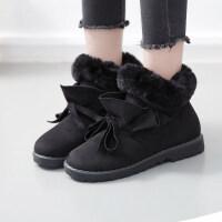 冬天雪地靴女带毛毛的冬鞋初中高中学生韩版百搭棉鞋子大童运动鞋