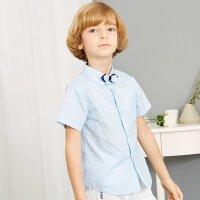 【1件2.5折到手价:33.8】米喜迪mecity童装夏新款男童领结装饰白色短袖衬衫中大童表演服