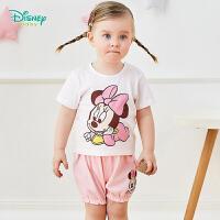 【3件3折到手价:57.9】迪士尼(Disney)童装 女童套装迪士尼宝宝米妮印花纯棉短袖套装 2020年夏季新品套装