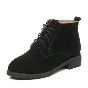 Tata/他她2017冬黑色牛剖层皮绑带方跟休闲靴女短靴10629DD7
