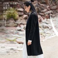 [AMII东方极简] JII AMII2017冬装女新款翻领双面毛呢外套中长款羊绒大衣韩版学生