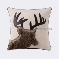 蓝色麋鹿北欧复古棉麻抱枕套客厅沙发靠垫汽车办公室抱枕靠枕腰靠 ML-12 重磅驯鹿侧颜