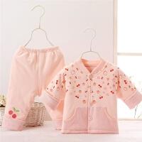 婴儿春秋款薄棉衣服新生儿女宝宝套装包扣花边小2件套春款2797