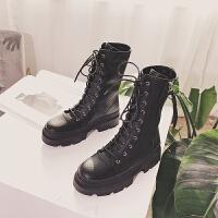英伦风马丁靴秋冬高帮复古女靴中筒靴拉链厚底短靴女加绒皮靴SN2489