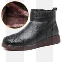 冬季真皮妈妈棉鞋中老年加绒保暖平底舒适防滑老人棉靴短靴女SN2811 0082