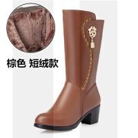 中筒靴女2018新款秋冬季真皮加�q羊毛粗跟棉靴中跟����皮鞋靴子女SN8883