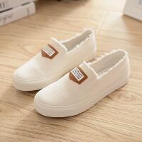夏季帆布鞋女套脚简约款低帮平底懒人鞋纯色韩版一脚蹬透气鞋