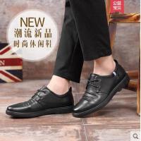 富贵鸟男鞋2018夏季新款男士黑色皮鞋时尚英伦圆头系带真皮潮鞋棕