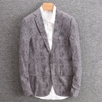 春秋薄款小碎花灰色帅气秋装男两粒单排扣长袖休闲西装 4160 灰色