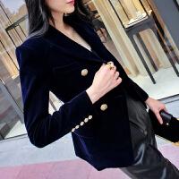 小西装外套女2018春秋新款休闲韩版修身显瘦双排扣西服上衣
