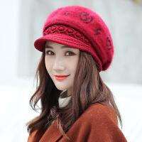 帽子女秋冬天兔毛鸭舌贝雷帽冬季保暖羊毛针织毛线帽休闲