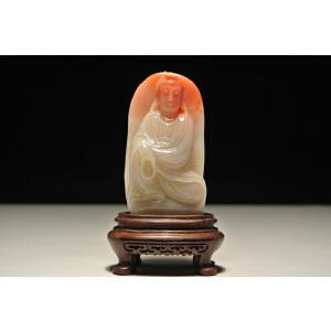 新贵老挝石巧雕【自在观音】人物摆件