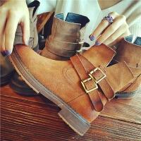 秋冬季新款平跟加绒短靴女鞋厚底英伦风机车真皮显瘦马丁靴女靴子