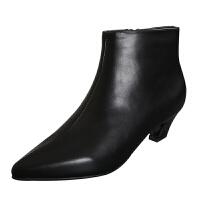 百搭中跟OL女短靴2018新款单靴女裸靴尖头粗跟简约通勤舒适马丁靴