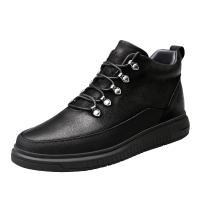 男士真皮板鞋韩版潮流英伦百搭全黑棉鞋皮鞋运动休闲青少年鞋子男 黑色单鞋;黑色加绒