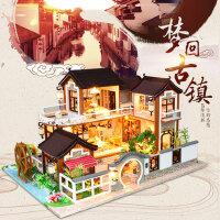 手工diy小屋制作中国风大别墅模型拼装小房子手工礼物艺术屋成人