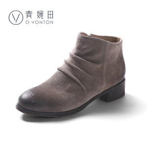 青婉田小短靴女春季2018新款磨砂皮韩版女靴春单靴中跟百搭靴子
