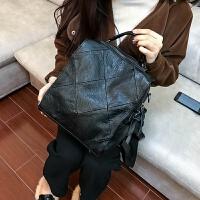 2018新款时尚真皮女包羊皮菱格多功能双肩包韩版书包潮单肩斜挎包 黑色