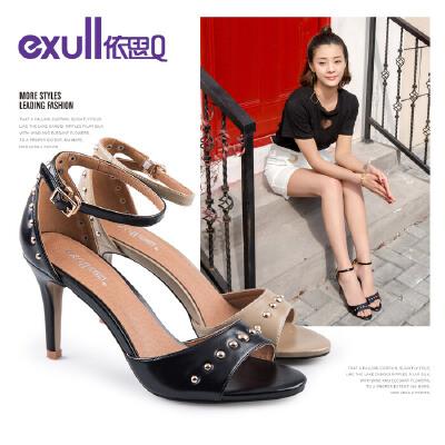 依思q夏季新款欧美时尚铆钉一字带细跟高跟凉鞋女鞋