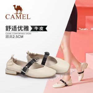 【满299减200元】Camel/骆驼女鞋 秋季新款复古舒适皮带扣饰低跟时尚真皮单鞋