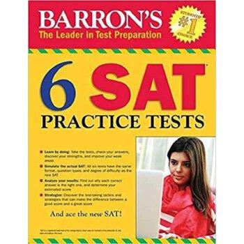 Barron's 6 SAT Practice Tests, 3rd Edition 英文原版 巴朗SAT练习题6套,第3版