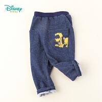 迪士尼Disney童装 男童布鲁托抓绒裤春秋新款仿牛仔抓绒长裤193K902