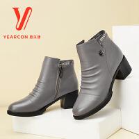 意尔康女鞋2017秋季新款时尚女靴舒适牛皮拉链中高跟皮靴