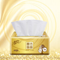 清风抽纸原木纯品金装3层150抽20包中幅软包卫生纸面纸巾餐巾纸