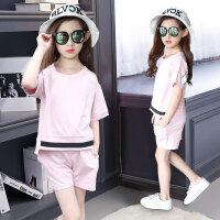 女童夏装套装短袖新款儿童运动服小女孩韩版潮中大童休闲套装