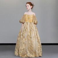 儿童礼服走秀女童模特钢琴演出服中大童小主持人生日花童公主裙秋 浅黄色