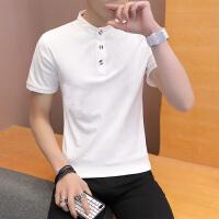 黑白纯色男士短袖T恤翻领 polo衫短袖男修身有带领韩版青年英伦潮