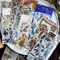 手帐贴纸烫金欧美和纸包人物做旧女郎黑白海报陌墨60枚复古影像集