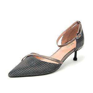BASTO/百思图2018夏季亮线布/羊皮革水钻通勤细高跟女凉鞋RQM05BK8