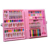 86件套粉色蓝色儿童绘画 套装美术水彩笔套装礼盒 美术工具女孩蜡笔组合笔幼