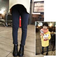 打底裤冬装新款女童竖条纹高弹力加绒加厚休闲打底裤A7-S43