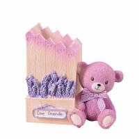 紫色薰衣草小熊笔筒 可爱学生文具房子造型笔插 桌面摆件