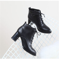 SD 310 牛皮尖头粗跟高跟绑带粗跟 女靴