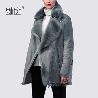 【年货节狂欢 到手价:605.5】魅斑2019新款冬装西装领羊羔毛短外套女麂皮绒机车风冬季夹克