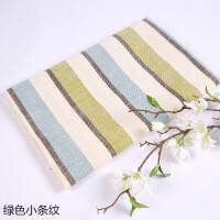 素色沙发套布料加厚粗亚麻布仿棉麻坐垫抱枕纯色面料桌布软包diy 浅灰色 绿色小条纹