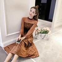 大码女装2018春装新品金丝绒连衣裙微胖妹妹显瘦遮肚子连衣裙长裙