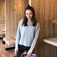 日系女装圆领粗织麻花辫开叉套头针织衫毛衣加厚纯色打底针织衫
