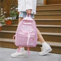 男女学生双肩包校园印花情侣潮流简约纯色背包书包
