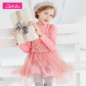 笛莎女童连衣裙冬季中大童蕾丝网纱拼接小女孩裙装